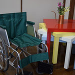 この車椅子は、和義さんが乗るために準備されていたものです。教会にこの度献品して下さいました。