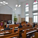 3月26日(日)の9時からの礼拝の様子。礼拝堂がうつくしいというのは、ほんとうに気持ちいいもの。