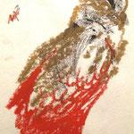 """MAB -  """" le faucon d'or """"  - monotype, réhaut de pastel gras doré et rouge"""