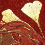 """Françoise Trotabas - """" 2 feuilles de gingko """" -  feuille d'or et acrylique - 2013"""