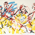 Laurent Besson - Quatuor en action - acrylique - 73x100cm