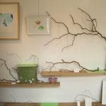 Nénuphar bijoux . Bijoux en argent : bagues, bracelets, colliers - installation sur des branches de saule tortueux - gravures réhaussées d'aquarelle de Takako Hirano