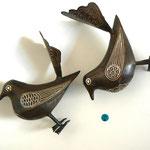 Oiseau en métal - Incrustation de filets d'argent - H:15 cm