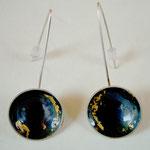 Nenuphar - boucle d'oreille - argent +argent oxydé - feuille d'or