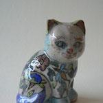 Céramique - chat debout - motifs floraux  - h:18 cm