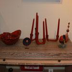 """Céramiques :"""" le choux """" bougeoirs : Sophie Gallé - Soas / sculpture grenade : Françoise Trotabas"""
