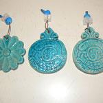 Porte bonheur - céramique  bleu turquoise