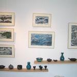 Michelle Boucard- linogravures - nuages - vagues et rochers