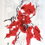 Laurent Besson - monotype - trompettiste rouge ""