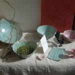 Sophie Gallé Soas - céramiques - boucle d'oreille de Nenuphar bijoux