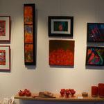 """triptyque :  Marina Argentini / photo """" rouge Morvan """" : MAB / peinture """" les herbes rouges """" France Noëlle Pellecer / photos 3 D : Myrto Palou"""