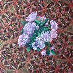 """Mehrzad Najand - """" fleurs sur motifs orientals """" peinture acrylique - 30x30cm"""