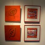 """2 peintures"""" Rouge vermillon clair """": Agathe de Filippi /photo , collage """" carnaval de Bâle : Sarah Wiame"""