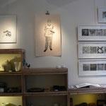"""Christine Gendre-Bergère - gravures - """"urbanités - Anju,sa tenue de travail et ses outils"""