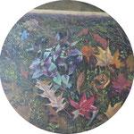 """Mehrzad Najand - peinture sur toile ronde - 40cm de diamètre - """"mille-feuilles"""""""