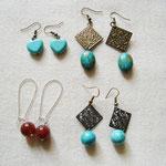 Boucle d'oreille - turquoise - cornaline -