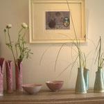 Sophie Gallé-Soas - vases roses et verts -  céramiques - gravure de takako Hirano -pleine lune