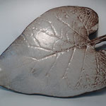 Sophie Gallé-Soas -  Céramique - grande plaque feuille beige - 27x19cm