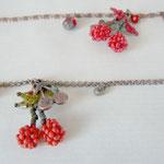 Voici des fleurs - bracelet cerise  - perle