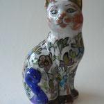 Céramique - chat debout - motifs floraux  - h:30cm