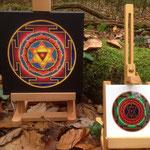Mandala-Repro auf Leinwand oder Schmuckfliese mit Staffelei