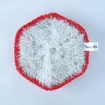 Eponge Lavable Claudie - Blanc Irisé / Rouge (13-0156)