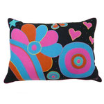 JR367 Psychedelic Flowers Cushion(Black)