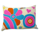 JR367 Psychedelic Flowers Cushion(Cream)