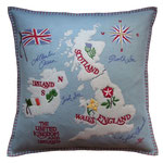 JR221 British Isles Cushion(Duck Egg Blue)