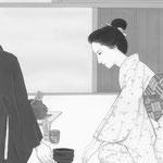 「潮騒はるか」葉室麟・幻冬舎月刊ポンツーン扉絵・第7話原画