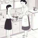「週刊金曜日」3月21日号掲載・主婦と科学、挿絵