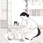 「週刊金曜日」2月21日号掲載・主婦と科学、挿絵 2014