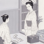 「風かおる」葉室麟・月刊誌扉絵・第4話原画、2014