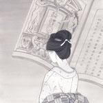 「潮騒はるか」葉室麟・幻冬舎月刊ポンツーン扉絵・第4話原画