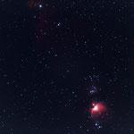 Flammen- und Pferdekopfnebel mit Orion, EOS 1100Da, 200mm, F2.8, 1x30sec, ISO 1600, Nachführung Vixen Polarie