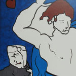 Rückseite XVI, Acryl-/Mischtechnik auf Leinwand, 100 x 80 cm