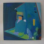3 silhouettes dans une rue triste huile sur panneau 40x40   400e