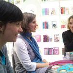 Mit Daniela Kohl und Pina Gertenbach auf der Leipziger Buchmesse, 14.3.13 (Foto: Christian Seltmann)