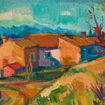 Wilfried Kirschl, Saint-Rèmy-de-Provence, Öl auf Karton, 1953. (Foto: Johannes Plattner)