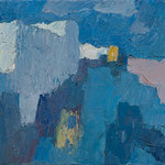 Wilfried Kirschl, Blaue Landschaft, Mykonos (2. Fassung), Öl auf Leinwand, 1962. (Foto: Johannes Plattner)