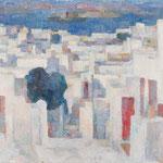 Wilfried Kirschl, Die Weiße Stadt, Mykonos, Öl auf Leinwand, 1966. (Foto: Johannes Plattner)