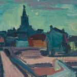 Wilfried Kirschl, Abend in Arles, Öl auf Leinwand/Karton, 1952. (Foto: Johannes Plattner)