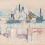 Wilfried Kirschl, Hinterhäuser Montmartre, Pastellkreiden auf Papier, 1979. (Foto: Johannes Plattner)
