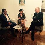 zeitPUNKT-Gespräch mit Durs Grünbein und Else Gabriel (v.l.) in der Galerie Barthel + Tetzner, Foto: Katrin Ebersohn