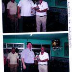 1ª Foto vemos a Antonio Chaves recogiendo la copa 2º Foto vemos a Mateo capitan del l´Hospitlet