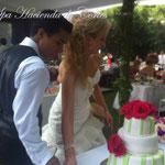 Pastel para boda de fondant en hacienda de cortes en jiutepec morelos
