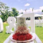 Pastel para boda de fondant letras gigantes