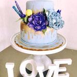 Pastel para Boda en cuernavaca morelos 1 piso azul con flores