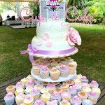 Pastel para Boda en cuernavaca morelos torre de cup cake