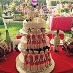 Pastel para Boda en cuernavaca morelos con damas de honor color rojo